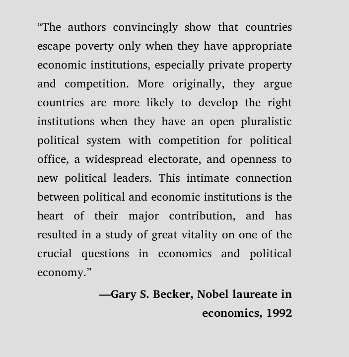 Gary Becker 對《Why Nations Fail》的評語